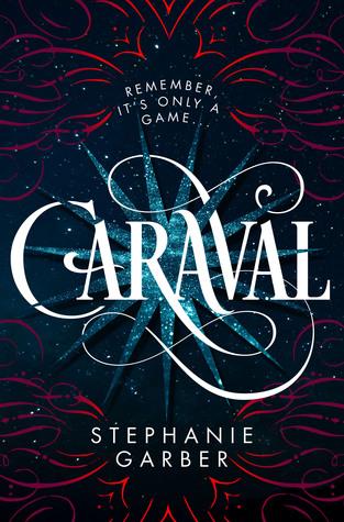 Cover til Caraval, hvit teskt på blå bakgrunn med røde kruseduller
