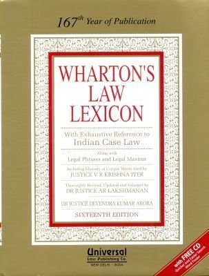 Law Lexicon with Exhaustive Reference to Indian Case Law - 167th Year of Publication