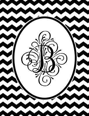 Monogram B 2018-2019 Coloring Academic Planner: Coloring Book Monthly Weekly Daily Black and White Chevron Student Calendar Planner 13 Months
