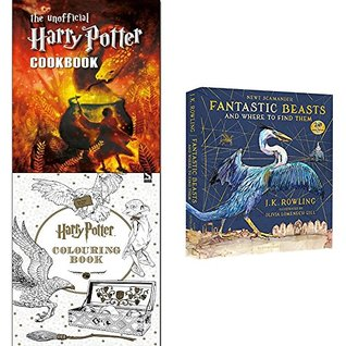 Fantastic beasts and where to find them [hardcover], unofficial harry potter cookbook and colouring book 3 books collection set