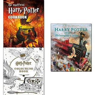 Harry potter and the philosopher's stone [hardcover], unofficial harry potter cookbook and colouring book 3 books collection set