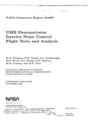 Uhb Demonstrator Interior Noise Control Flight Tests and Analysis