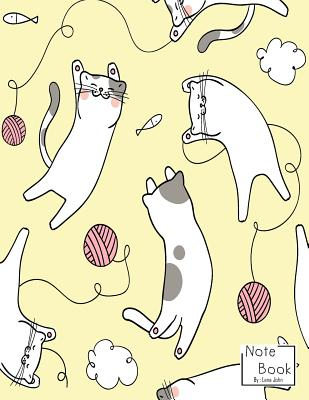 Notebook: Cute Cats Playing With Yarn Notebook and Dot Graph Line Sketch pages, Extra large (8.5 x 11) inches, 110 pages, White paper, Sketch, Draw and Paint (Notebooks for Girls)