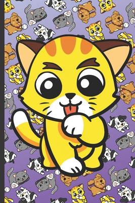 Home Improvement Maintenance and Repair Journal: Yellow Kitten Licking Paw with Cute Kittens Cats Dogs and Puppies on a Purple Background.