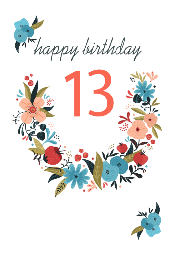 Floral 13 Free Birthday Card Greetings Island