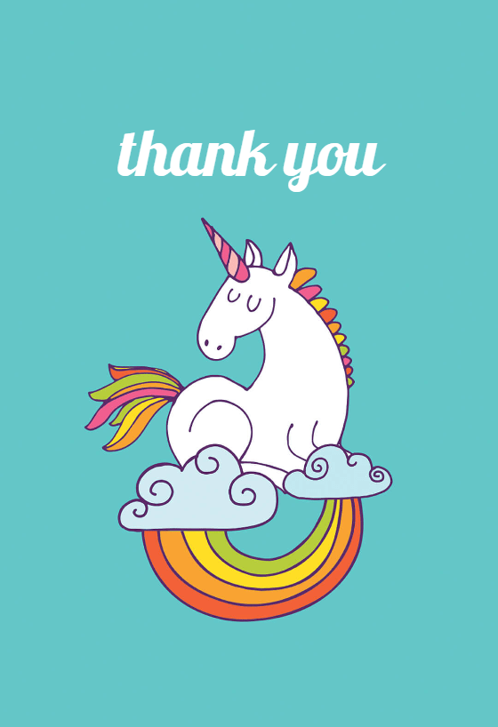 Unicorn Magic  Birthday Thank You Card Free  Greetings