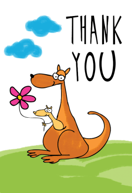 Thank You Kangaroo Free Thank You Card Template