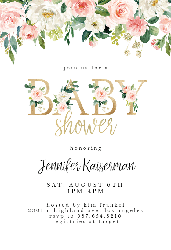 Baby Letters For Baby Shower : letters, shower, Shower, Floral, Letters, Invitation, Template, Greetings, Island