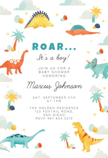 Baby Shower Dinosaur Theme : shower, dinosaur, theme, Dinosaur, Shower, Invitation, Templates, (Free), Greetings, Island