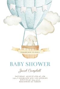 Elephant Air Balloon - Baby Shower Invitation Template ...