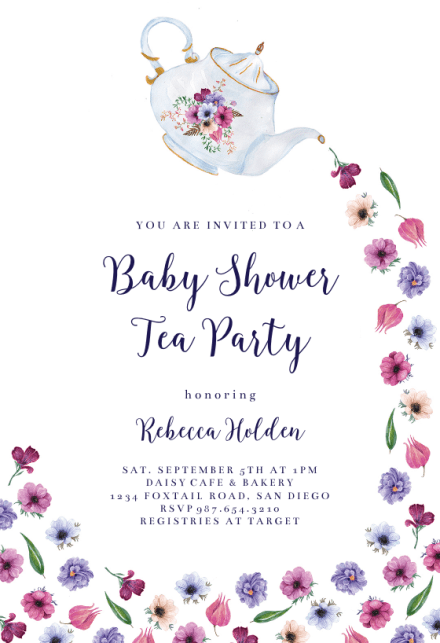 Pouring Tea Baby Shower Invitation Template Free