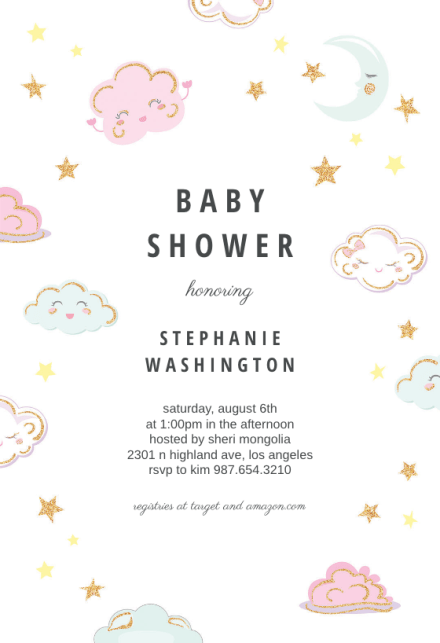 Sparkly Clouds Baby Shower Invitation