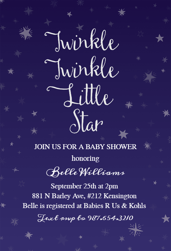 Twinkle Twinkle Little Star Baby Shower Invitation Wording : twinkle, little, shower, invitation, wording, Twinkle, Little, Shower, Invitation, Template, (Free), Greetings, Island