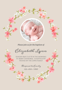 Floral Baby - Baptism & Christening Invitation Template ...