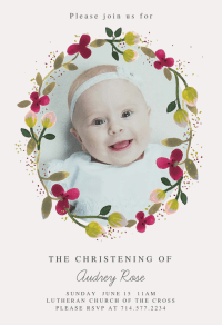 Floral Happiness - Baptism & Christening Invitation ...