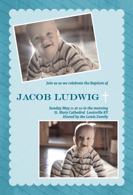 stamped frame blue baptism
