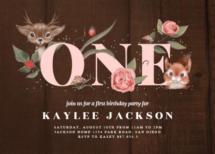 woodland friends birthday invitation