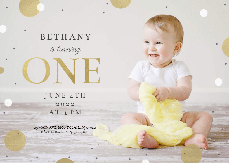 1st confetti birthday invitation