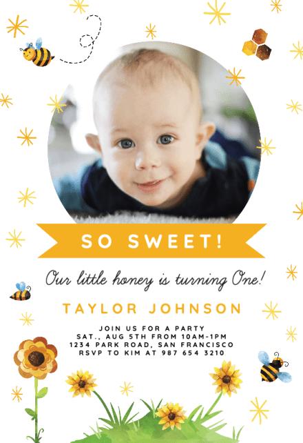 honey bee birthday invitation