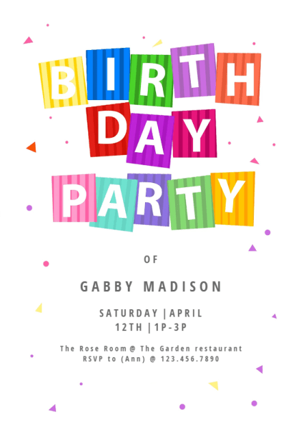 party confetti birthday invitation