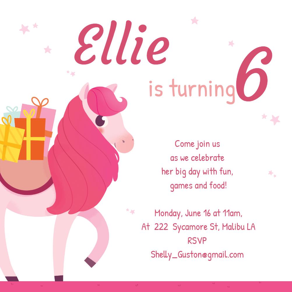 party pony birthday invitation