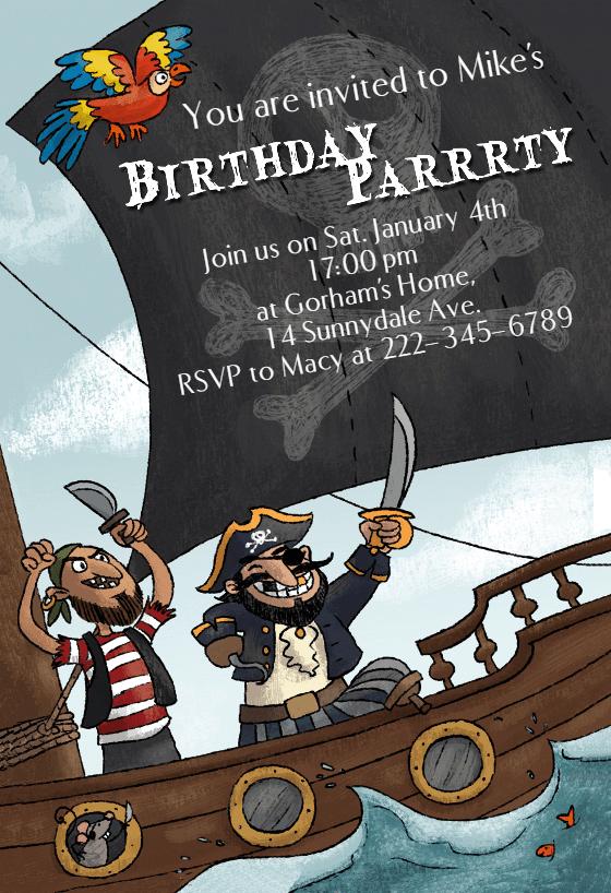 pirates party birthday invitation