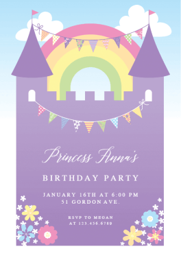 Purple Castle  Free Birthday Invitation Template  Greetings Island