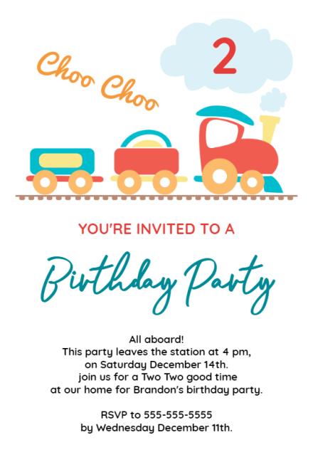 2nd birthday party train birthday