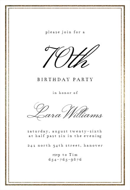 70th birthday invitation templates