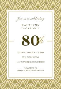 80th Golden Birthday - Birthday Invitation Template (Free ...