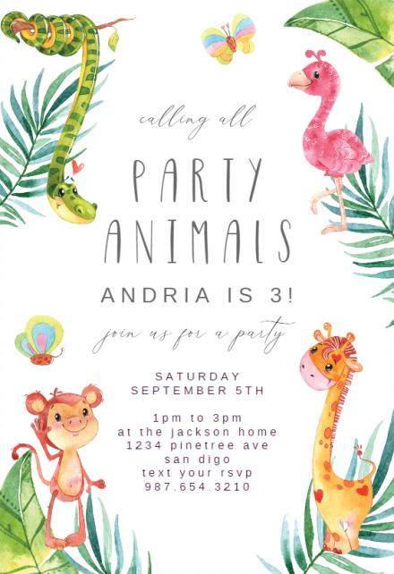 wild animals birthday invitation