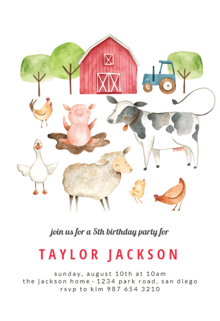 barn birthday invitation template