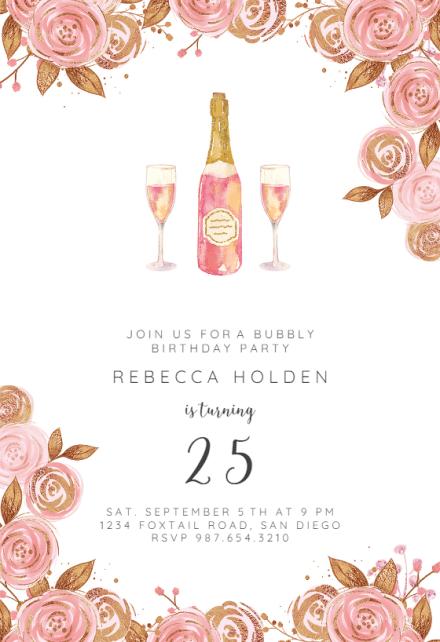 brunch bubbly birthday invitation
