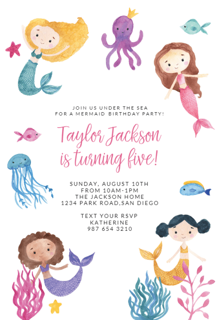 cute mermaid birthday invitation