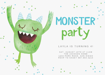 cute monster birthday invitation