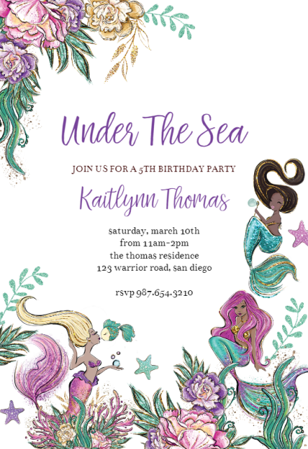 mermaid invitation templates free