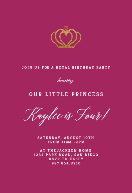 the royal crown birthday invitation
