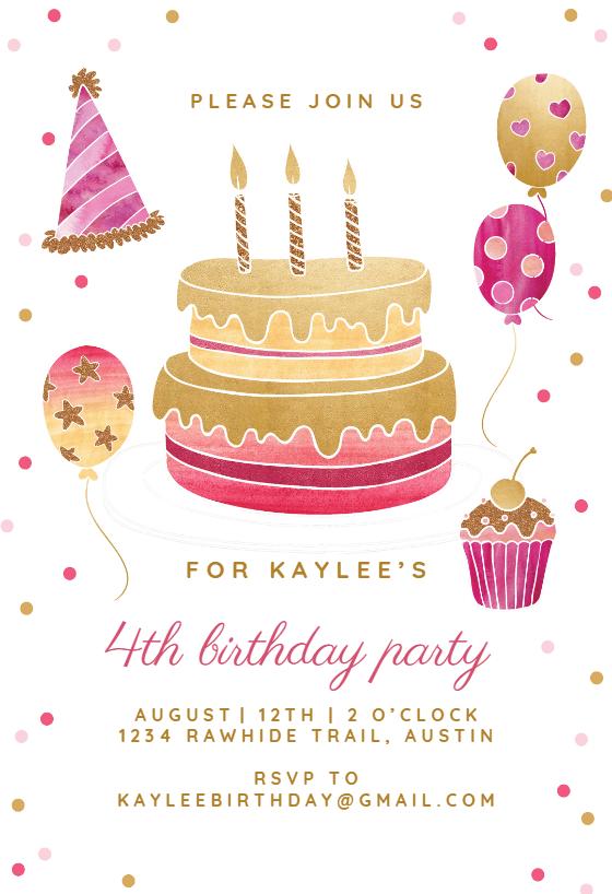 gold and pink birthday invitation