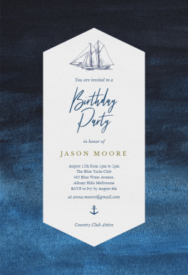 Nautical Yacht  Birthday Invitation Template free  Greetings Island