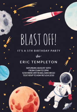 Outer Space  Free Birthday Invitation Template