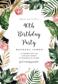 Painterly Tropical - Birthday Invitation Template (free ...