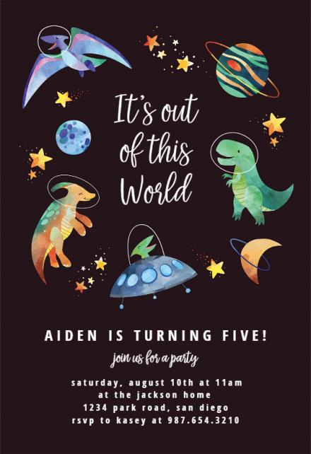 space dinosaurs birthday invitation