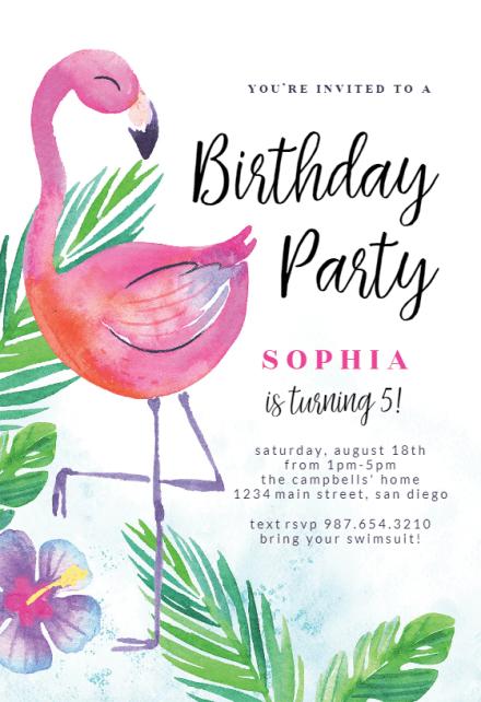 watercolor flamingo birthday