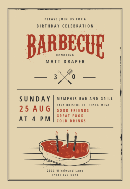 BBQ Party Invitation & Flyer Templates Free Greetings