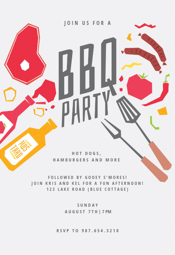 Summer night  BBQ Party Invitation Template Free