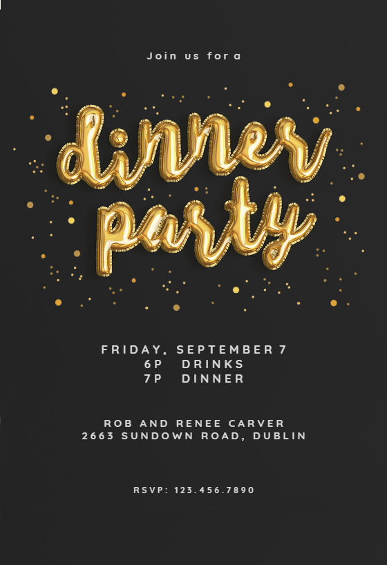 Balloons of Course  Dinner Party Invitation Template