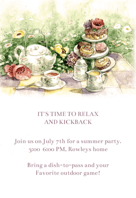 tea party party invitation template