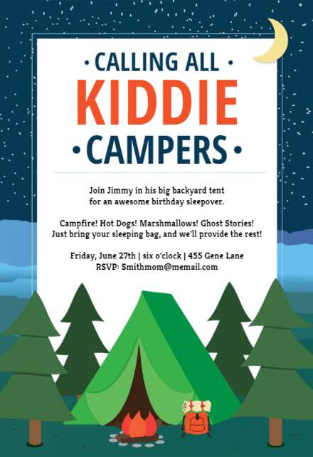 kiddie camping sleepover party