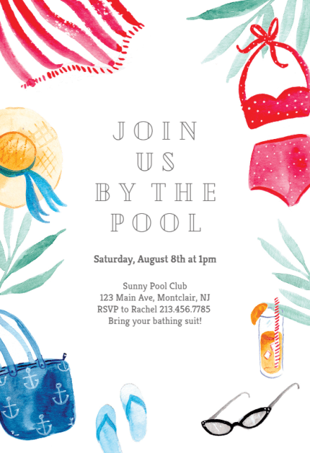 Whether it's an invitation to a dinner party or an event for your kids, these tips will make it easier to make th. Pool Party Invitation Templates Free Greetings Island
