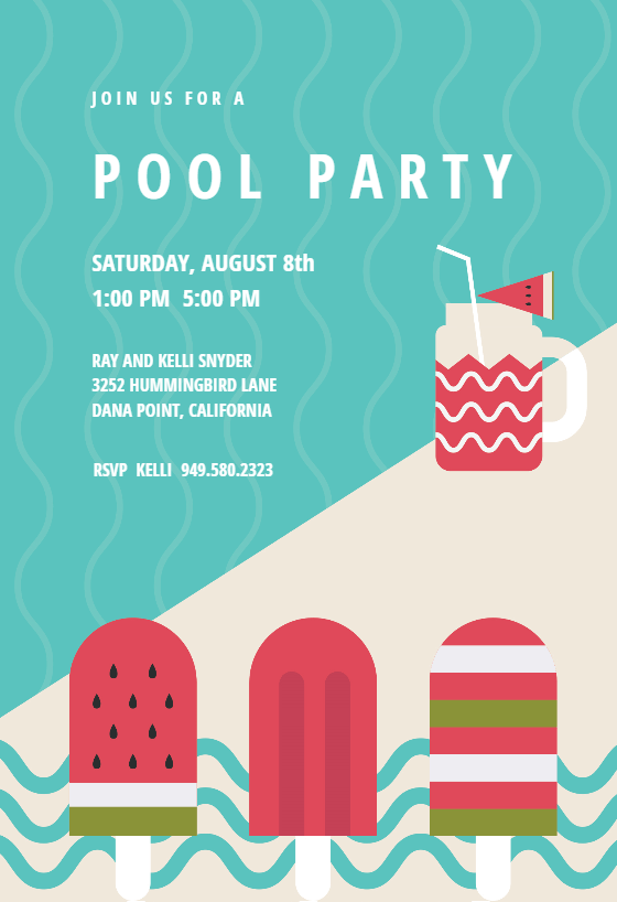 Chill Out Pool Party Invitation Template Free
